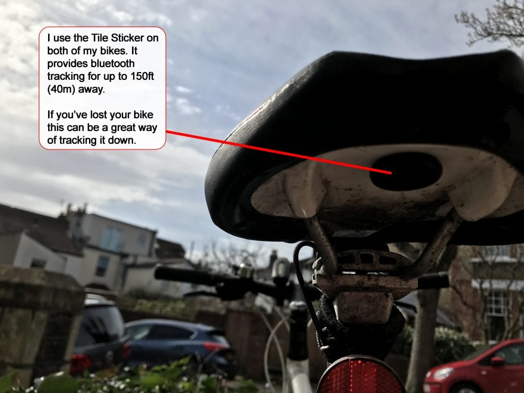 How to stop your bike being stolen, a bike using a tile sticker bluetooth tracker