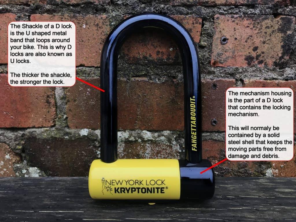 Bicycle D lock parts