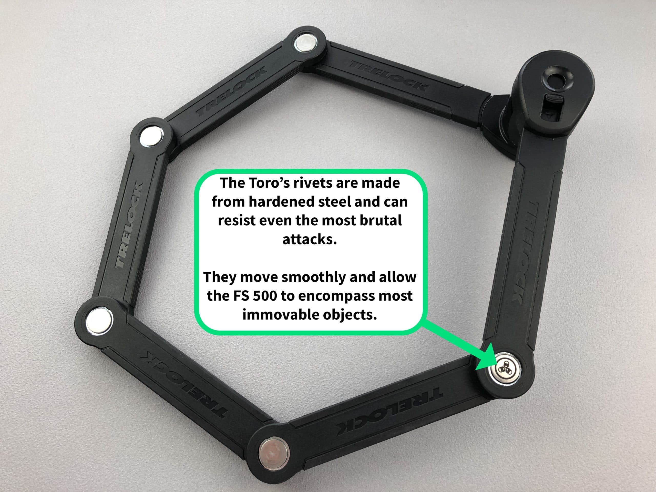 Bicycle Folding Lock Trelock Toro with Plastic Holder FS 500//90 limbs Ironing