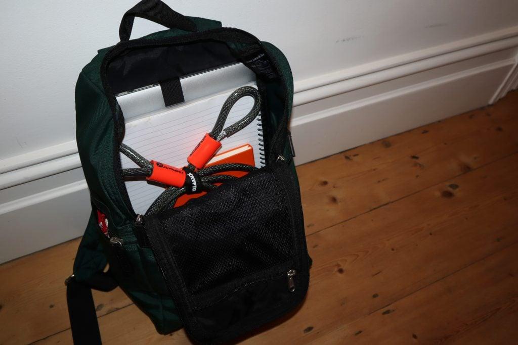 Kryptonite Kryptoflex 710 in backpack