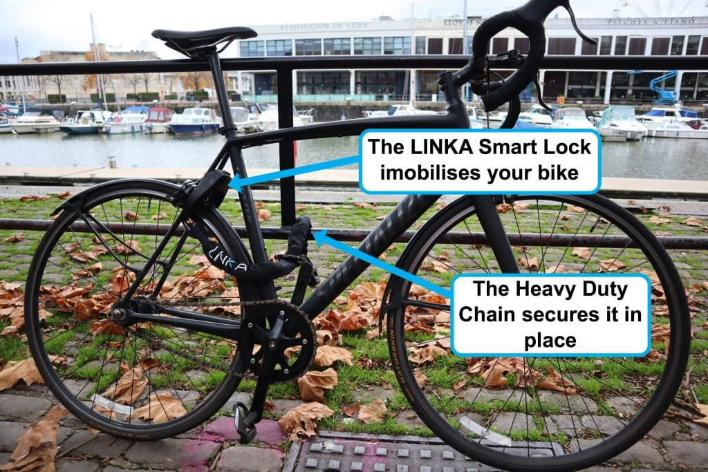 LINKA Smart Bike Lock locked with Heavy duty chain