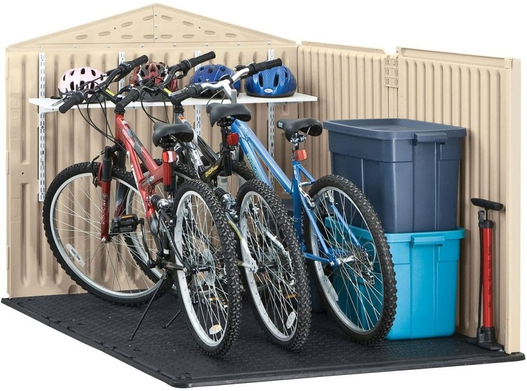 Rubbermaid slide-lid bike shed