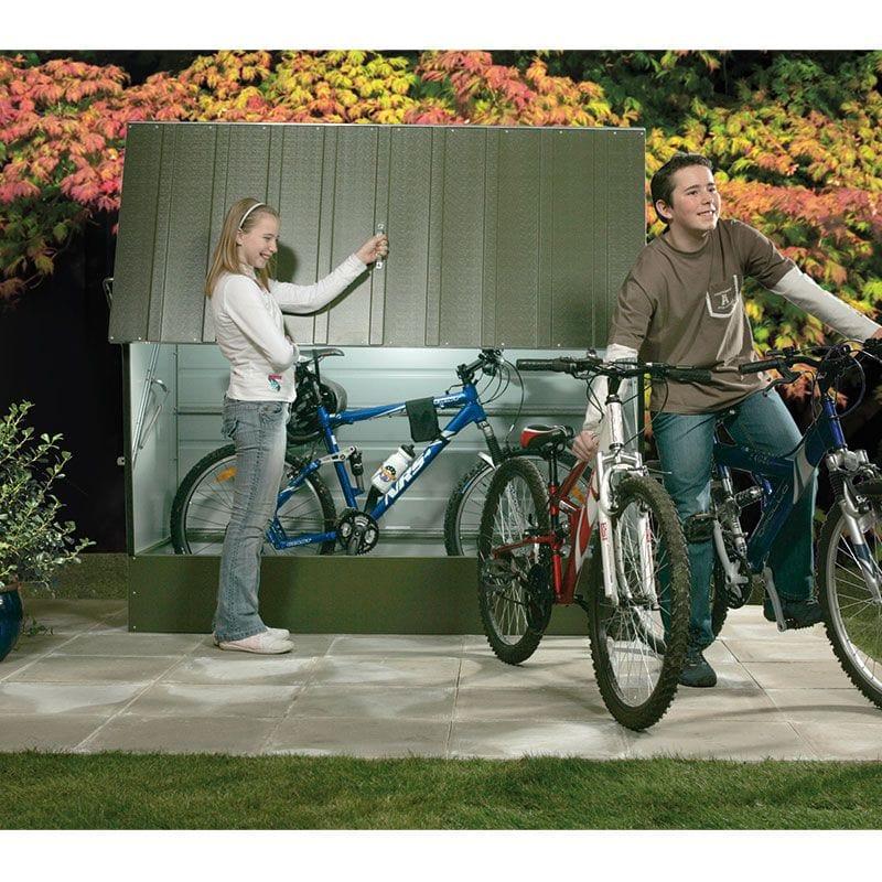 Trimetals protect a cycle metal bike storage shed