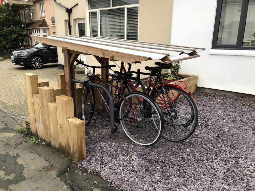 Weather shelter bike shed