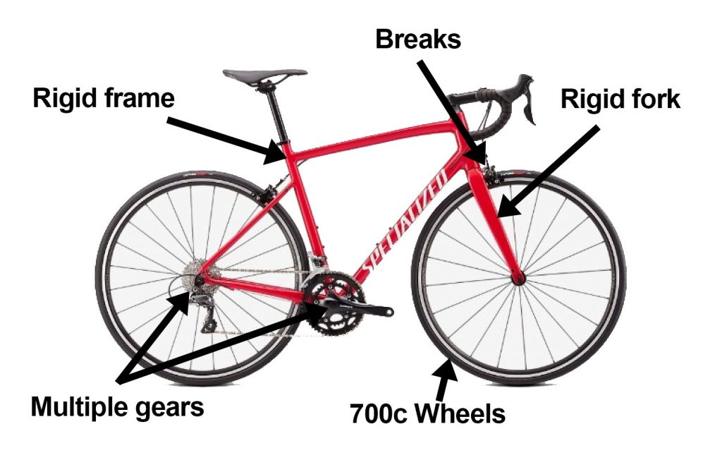 What features of a road bike does a hybrid bike have?