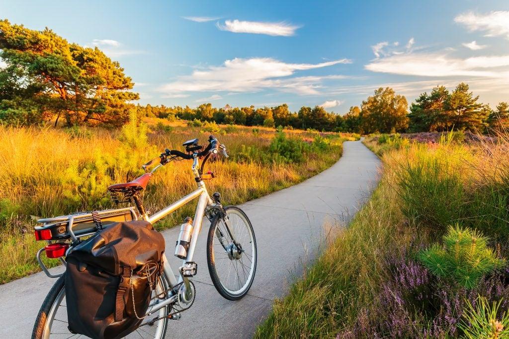 Electric comfort bike on bike path