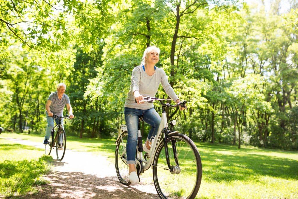 Older woman riding comfort bike