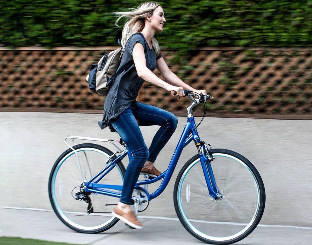 Woman riding a comfort bike