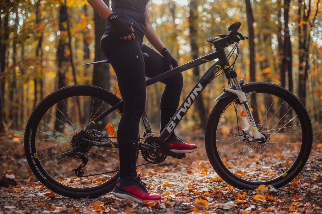 Hardtail mountain bike on forest path