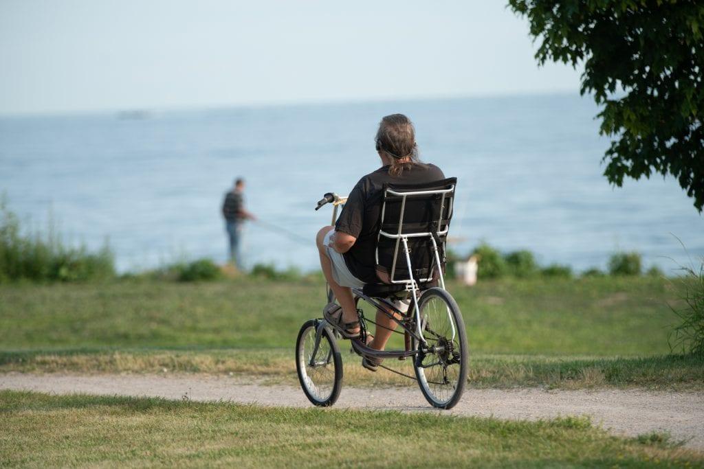 Man riding recumbent bike