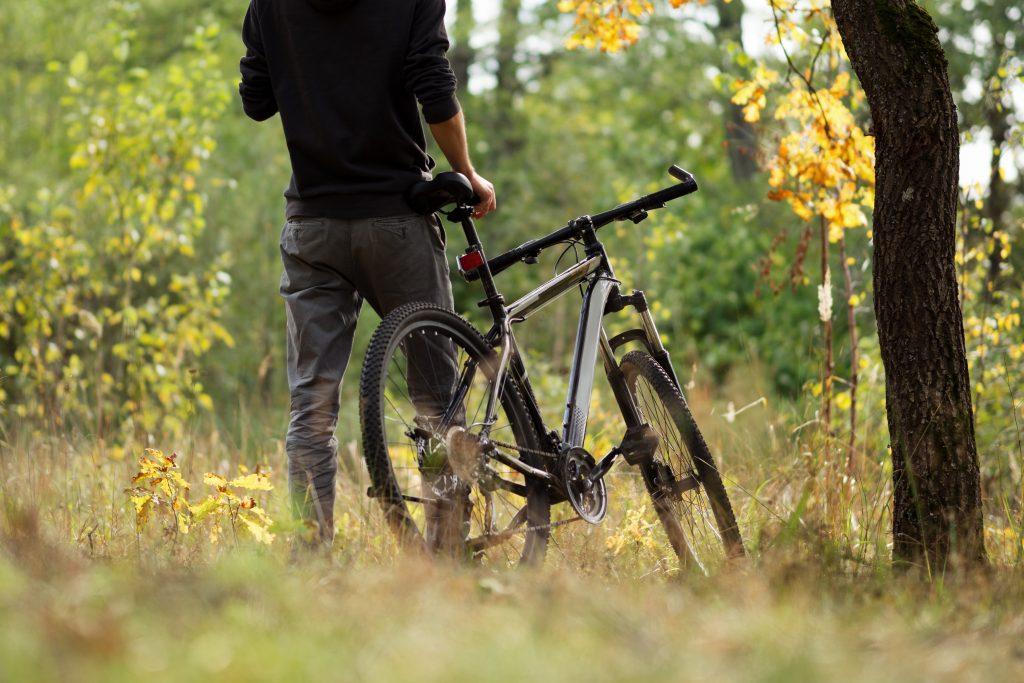 man using a 29er mountain bike