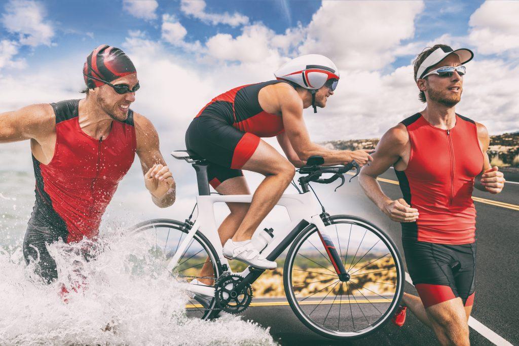 the three stages of a triathlon, run, bike and swim
