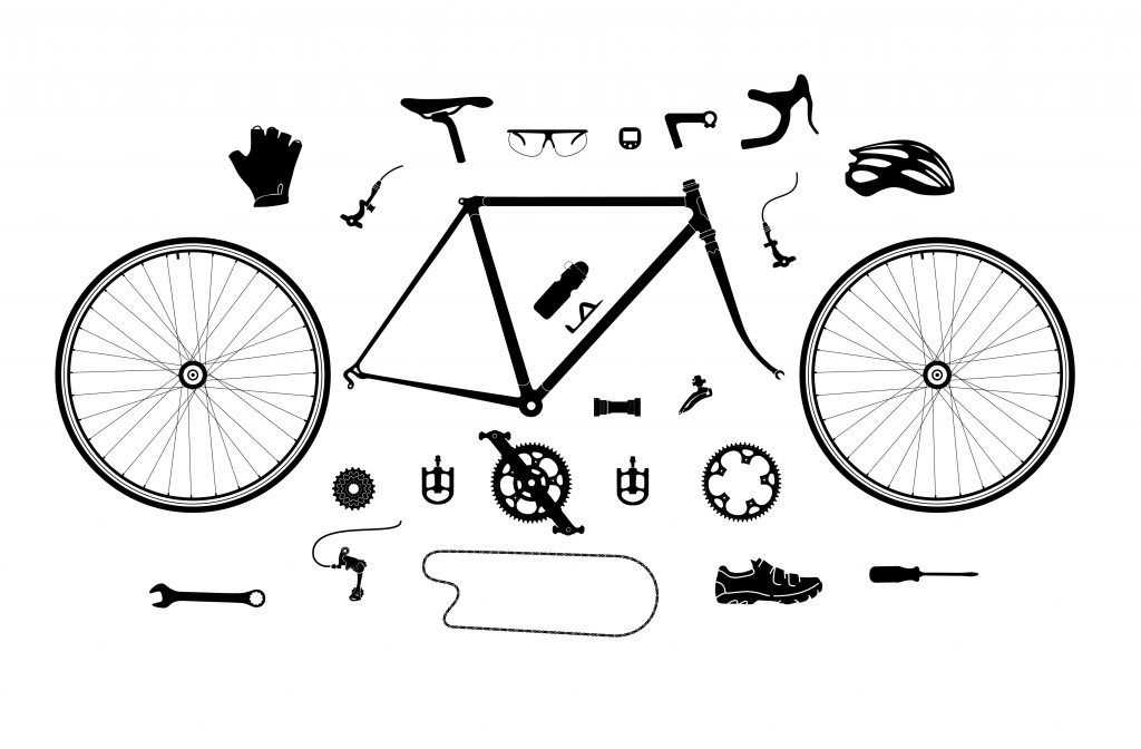 A diagram showing the anatomy and the components of a road bike