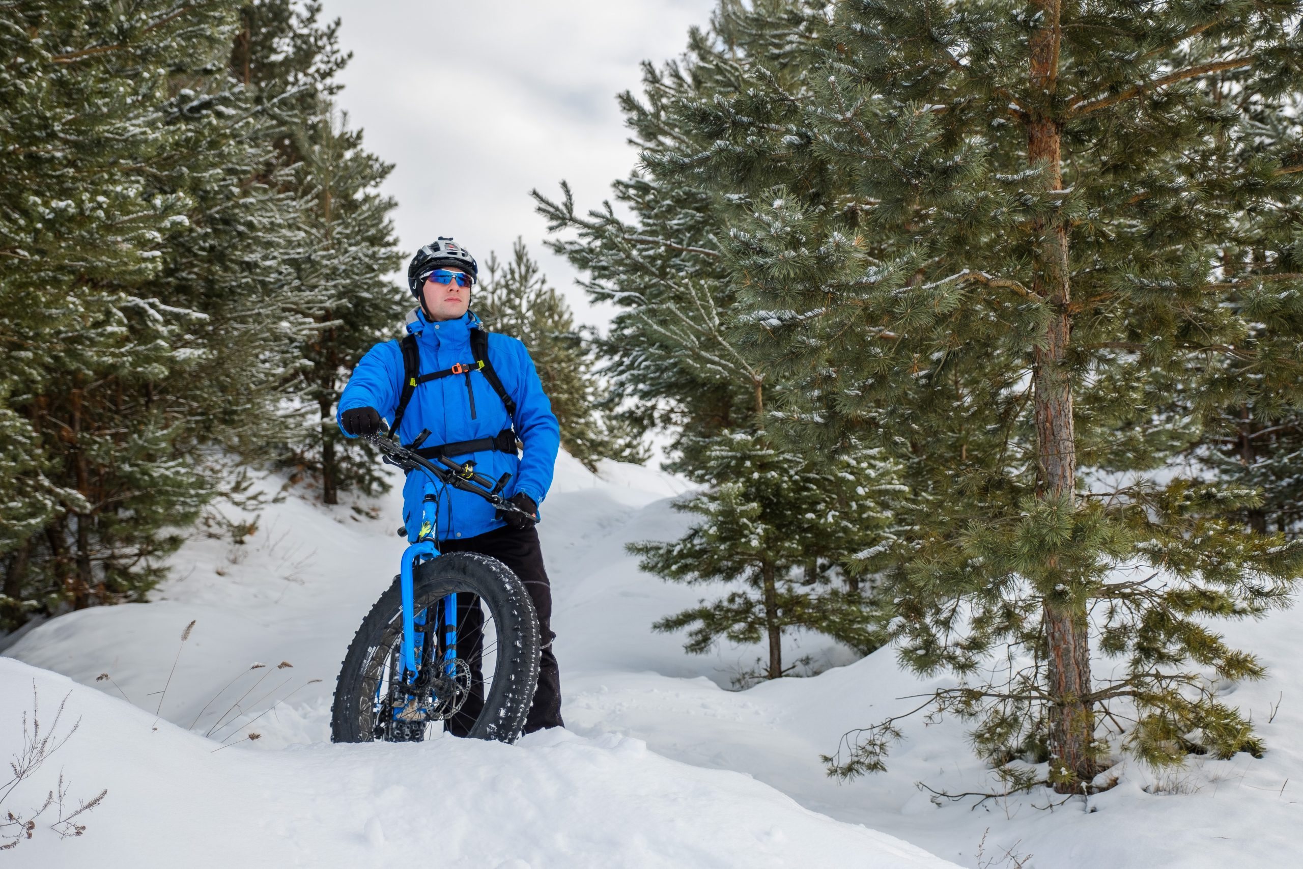 Man riding fat bike in snow