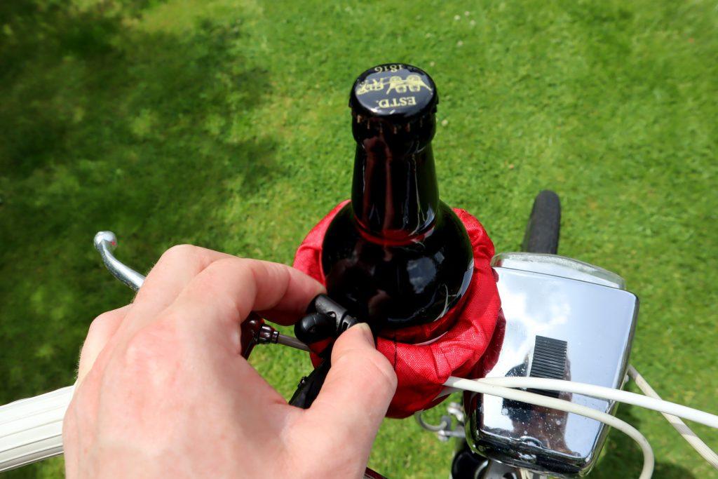 adjustable toggle on the HandleStash bike beer holder