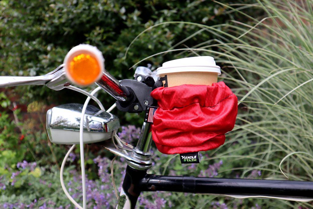 Handlestash bike coffee cup handlebar holder