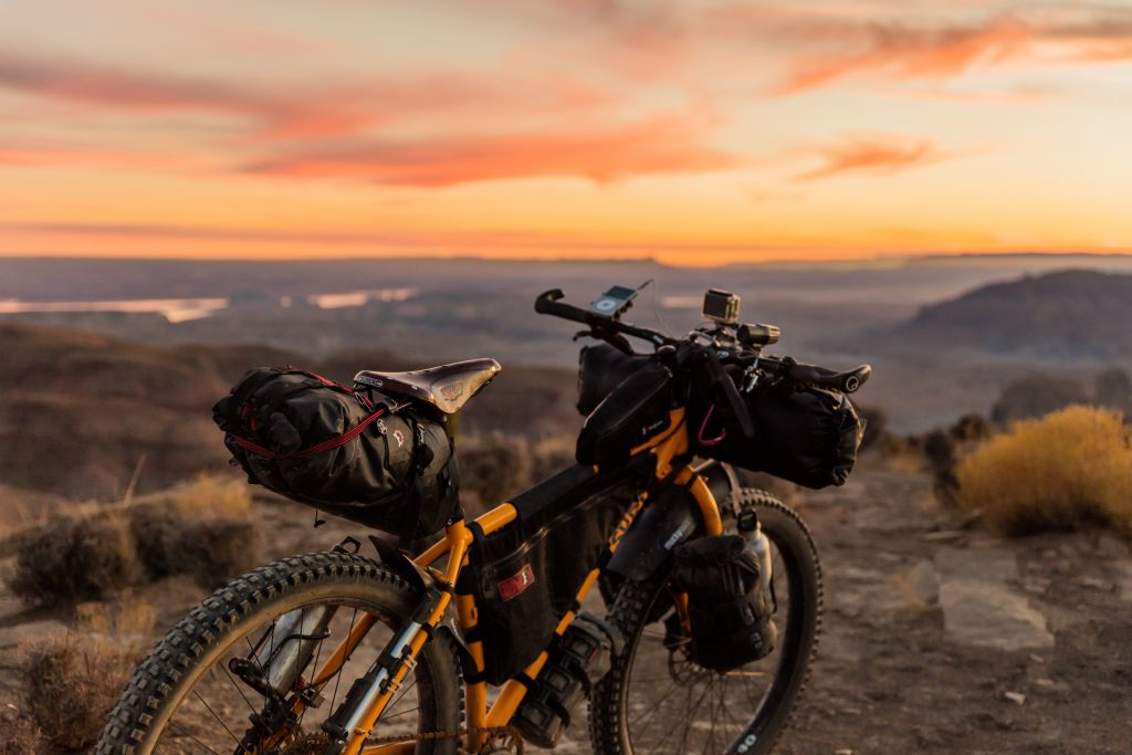 Touring bike with sunset and bike bags
