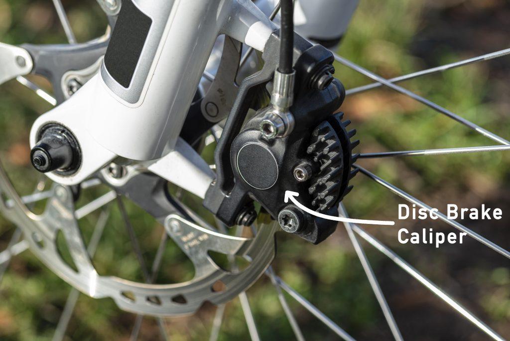 Bike disc brake caliper on mountain bike